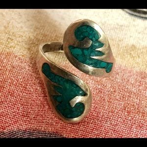 Sterling & Turquoise Mexico Mosaic Chip Wrap Ring